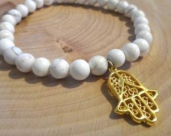 White Magnesite Beaded Bracelet with Gold Hamsa