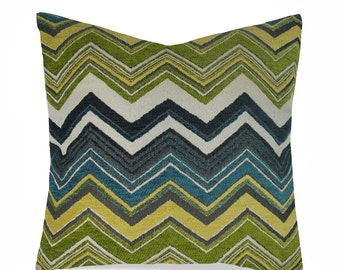 Barrow/Merrimac - Chevron Velvet - Decorative Pillow Cushion Cover - Accent Pillow - Throw Pillow - Teal, Citrine