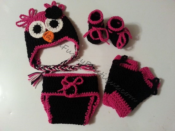 Baby Pink & Black Owl Costume Set Hat Leg Warmers Diaper Cover Booties - Winter Outfit Newborn Boy Girl Beanie  Photo Prop