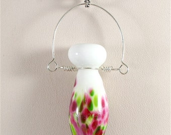 Handmade Lampwork Glass Bead SRA  Pink Green White Pendant