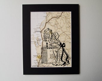 "8 x 10"" Mounted Print of Lady in front of a Mirror, on a Western Australian Map"