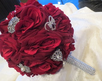 Silk Brooch Bridal Bouquet Red Roses Keepsake Heirloom