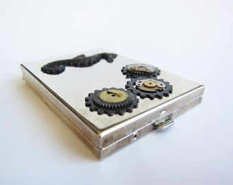 Steampunk Trinket Box - Silver Nautical OOAK Storage Box - Vintage Recycled Box