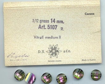 Four rarest-of-the rare vintage Swarovski pagoda beads - Art. 5107R - 14 mm - vitrail medium II