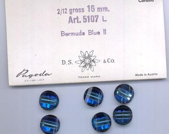 Six rarest-of-the rare vintage Swarovski pagoda beads - Art. 5107L - 16 mm - bermuda blue II