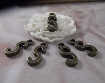 """5 Letter """"S"""" Antique Bronze Charms --- Antique Bronze Color"""