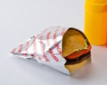 Retro Foil Hamburger Bag  Holders Picnic Cookout Birthdays  Set of 25
