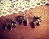 Moose Charm, Woodland, Animals, Forrest Animals, Vintage Style Pendant Charm Jewelry Supplies (BD136)