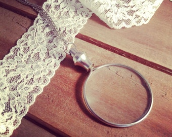 Monocle necklace etsy 1 silver monocle magnifying glass pendant necklace really works silver vintage style jewelry supplies with aloadofball Image collections