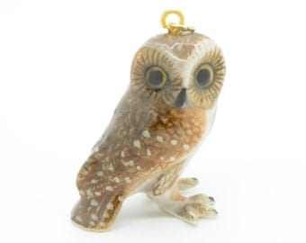 1 - Porcelain Brown Owl Pendant Animal Hand Painted Ceramic Animal Small Ceramic Owl Vintage Jewelry Supplies Little Critterz (CA064)