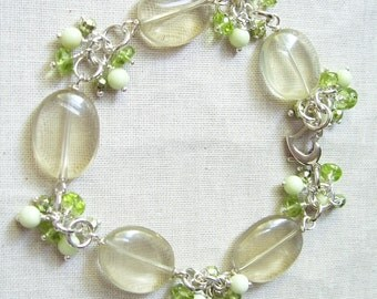 Lemon Quartz Bracelet with AAA Peridot, Mint Green Chrysoprase, Green Coated Pyrite and Sterling Silver Margarita Bracelet
