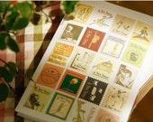 Retro Circus Thematic Stamp Sticker Set Deco Sticker - 4 Sheets 80 Pcs