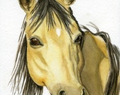 Mustang horse painting 5 1/2x8 original watercolor painting ranch rustic cabin decor home decor horses earthspalette