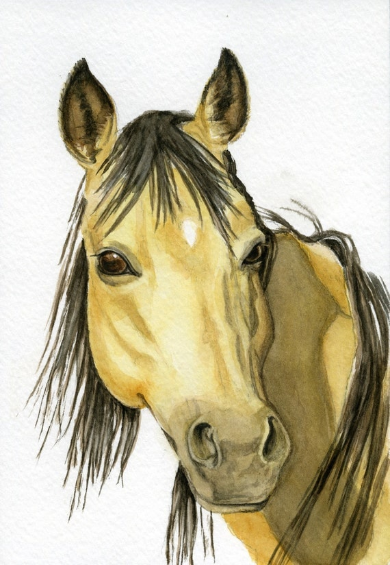 Mustang, horse painting, 5x7 print from original watercolor, home & living, rustic, cabin decor home decor horses earthspalette