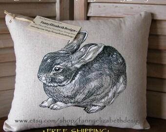 Hand-drawn Bunny Pillow- Rabbit Pillow-Bunnies-Decorative Pillow- Easter Gift- Easter Pillow- Bunny Pillow- Baby Shower Gift- Nursery Pillow