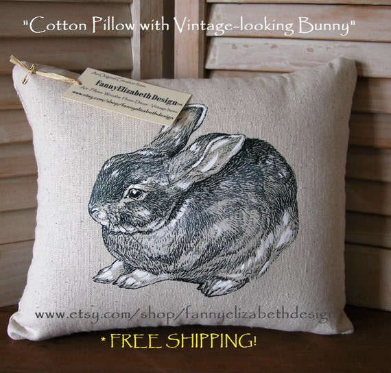 Hand-drawn Bunny Pillow- Rabbit Pillow-Bunnies-Decorative Pillow- Easter Gift- Easter Pillow- Bunny Pillow- Baby Shower Gift- Nursery Pillow