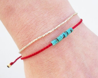 Wish bracelet, Friendship bracelet, Red string bracelet with semiprecious turquoise gemstone