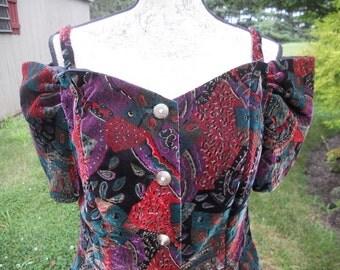 Vintage Black Velvet Top Off Shoulder Metallic Thread Printed Formal Large Extra large