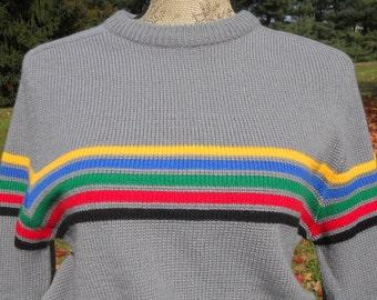 Vintage Ski Sweater Retro Striped Sweater Hippie Hipster Long Sleeved Medium Sweater Unisex