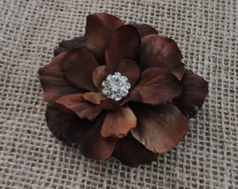 Brown Flower Clip w/Rhinestone Center  - Womens Flower Clip - Baby / Girls Hair Clip  - Hair Pin