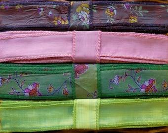 Silk Sari Ribbon, Silk Trim, 4 colors, A34
