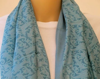 Lovely Large Blue Silk Scarf with Floral pattern