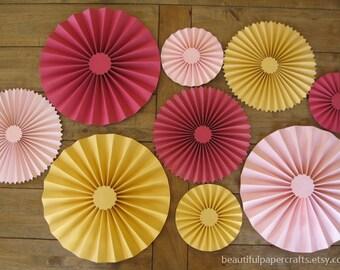9 pc Pink Lemonade Birthday Rosettes | Paper Fans | Pinwheel Backdrop Decor | Summer Party Paper Rosettes | Candy Buffet Decorations