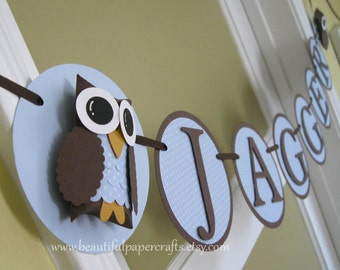Owl Baby Shower Banner--Name Owl Banner- It's A Boy Baby Shower Decorations