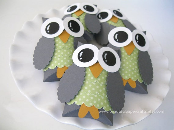 Gray and Green Owl Favor Boxes- Baby Shower Decorations-Owl Birthday Party--Set of 12