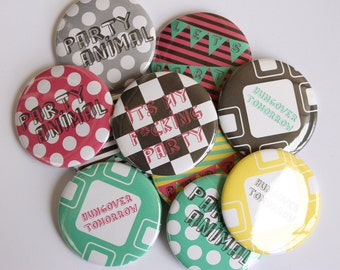 Set of 10 Inappropriate PARTY Buttons