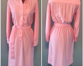 Vintage 70s Womens Pink Casual Day Dress with Long Sleeves and Attached Belt size Medium