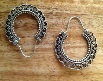 Vintage Ornate Sterling Silver Hoop Earrings