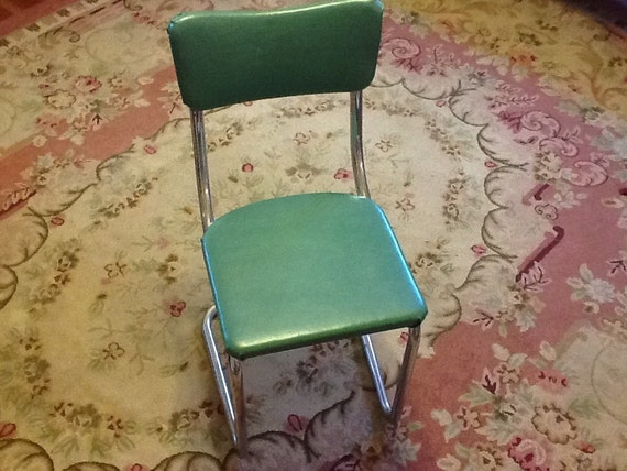 1950 turquoise green chrome kitchen chair by thepuppydogtails