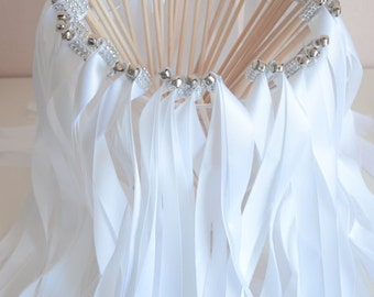 Chic Wedding Ribbon Wands-send off/ set of 75 double ribbon wands with rhinestones and bells