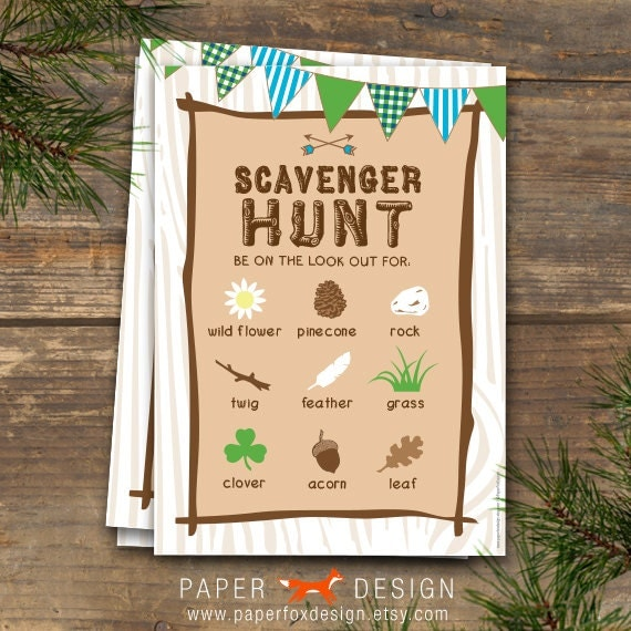 Scavenger Hunt Camp Theme Printable Blue & By PaperFoxDesign