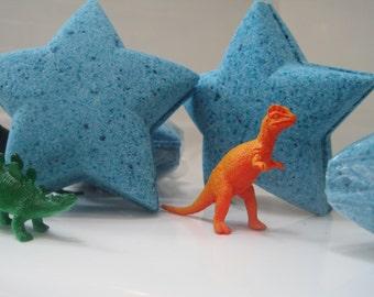 Dinosaur Bomb - Dark Blue Star Bath Bomb with Plastic Dinosaur Figure Inside