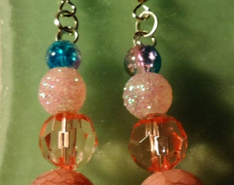 Pink Glass  Beaded Dangle Earrings #5