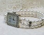 Swarovski White Pearls Double Strand Stretch Beaded Watch Bracelet