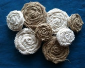 50 One and Two Inch Wedding Burlap Flowers in Natural and Ivory