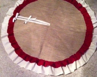 """48"""" Burlap Tree Skirt with a Muslin and Small Barn Red Ruffles"""