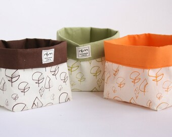 Bread Basket - Desk organizer - fabric bin for storage or table - screen printed with leaves in orange, olive green or chocolate  brown