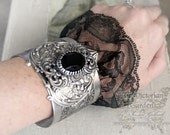 MIDNIGHT LACE Victorian vintage gothic cuff bracelet in aged silver black lace
