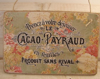 French text on shabby vintage wallpaper, image applied to wooden tag, dresser, door hanger