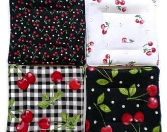 Quilted Coaster Set, Cherry Coaster Set, Black and Red Coaster Set, Cherry Drink Coasters, Drink Coasters, Beverage Coasters, Hostess Gift