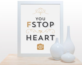 Camera Typography Print - You F-Stop My Heart - poster cute modern minimal dark grey light gray mustard yellow gold toned photographer art