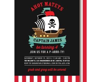 Pirate Birthday Invitation, Pirate Ship Invitations, Pirate Birthday Party Invite, Printed or Printable
