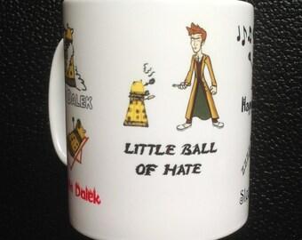 Dr. Who David Tennant Gold Dalek Soft Kitty inspired Mug