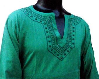 Green Dress Man tunic top kurta shirt handmade gypsy plus size clothing father's day costume top beach wear Caftan boho salwar kameez sari