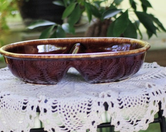 Vintage Hull Brown Drip Divided Serving Dish