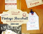 INSTANT DOWNLOAD Vintage Baseball Birthday Party Kit & Invitation- DIY/Customize Editable in Adobe Reader